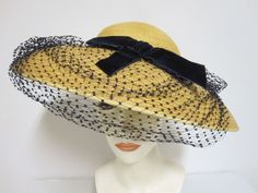 Gorgeous 1920's Ladies Wide Brim Vintage Sun Hat Made in Italy