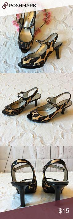 "Liz Claiborne cheetah heels 9 Cheetah print heels, about 3 1/2"". Ankle strap. Peep toe. EUC. Liz Claiborne Shoes Heels"