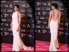 Goya 2015 - Bárbara Lennie escogió este acertado vestido blanco con detalles dorados en los hombros de Cavalli Atelier