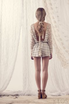 'Boychick' White & Grey Striped Crochet Playsuit