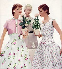 pretty 1950s spring/summer floral frocks.