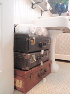 Not sure I'd want 'em in the bathroom > Re-purposed Vintage Luggage