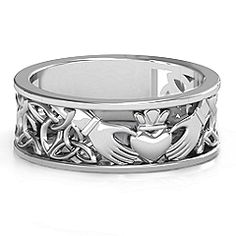 Centered with a traditional Claddagh motif and embellished with an open Celtic patterned band, this ring will be custom made with your choice of metal and engraving.