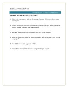 FREE -- Reading Check Questions for each chapter of The Nazi Officer's Wife, a Holocaust memoir that tells the true story of Edith Hahn Beer, a Jew passing as an Aryan in the heart of the Nazi  Germany during WWII. Click through to download the full reading guide for the novel.