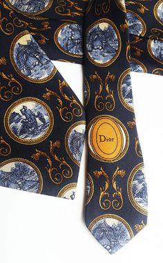 Vintage Christian Dior Monsieur Dark blue silk tie