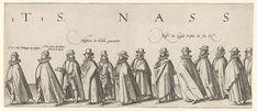 Hendrick Goltzius | Begrafenisstoet van Willem van Oranje, blad 11, Hendrick Goltzius, 1584 | Lijkstatie met de heren graaf Filips van Nassau, graaf Solm, leden van de Staten-Generaal en de Raad van State. Blad 11 in de begrafenisstoet van Willem van Oranje, Delft 3 augustus 1584.