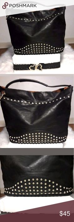 Black Gold Studded Shoulder Handbag Women's Purse Black Gold Jewel Studded Rhinestone Accent Large Shoulder Handbag  Pre-owned in Excellent condition, New likewith minor unnoticeable flaw.  Please be sure to view all images before purchasing.  Thank you for Looking & Sharing Happy Poshing😄💗 & Other Stories Bags Shoulder Bags