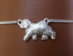 Large Sterling Silver Old English Sheepdog Moving Study Anklet Sterling Silver Anklet, Silver Anklets, Beachy Anklets, Thing 1, Ankle Chain, Old English Sheepdog, Dog Jewelry, Toe Rings, Ankle Bracelets