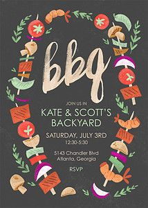 BBQ! Yes, please. Perfect invites for Summer backyard parties. | Flat Cards - Summer Party Invitations - Let's BBQ Gray : Mpix