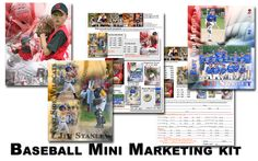 Baseball mini marketing kit and poster samples includes: Fully editable PSD flyer themed for Baseball Fully editable PSD order form themed for Baseball both include suggested pricing but pricing can be changed to whatever suits your business needs. Ready to print samples Fully layered  Pride and  Two Three poster sample to see how we put them together All for immediate download http://www.templatesunlimited.com/proddetail.asp?prod=BSMARKETING