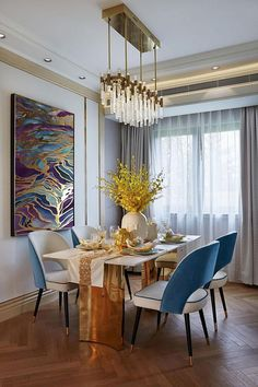 Large Abstract Oil Painting Wall Art Gold Painting Wall Decor Modern Art Original Painting with Gold - All About Decoration Elegant Dining Room, Dining Room Design, Modern Wall Decor, Modern Art, Modern Design, Dining Room Inspiration, Dining Chairs, Sweet Home, Room Decor
