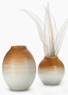 Whitewash Mango Wood Vases