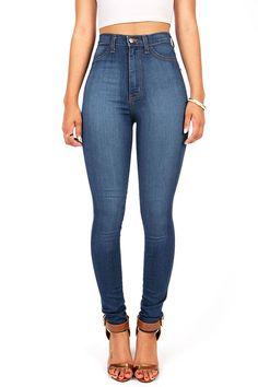 ae2ca7f3e46 Vibrant Womens Juniors Classic High Waist Denim Skinny Jeans 11 Medium Denim    Click image for more details. (This is an affiliate link)