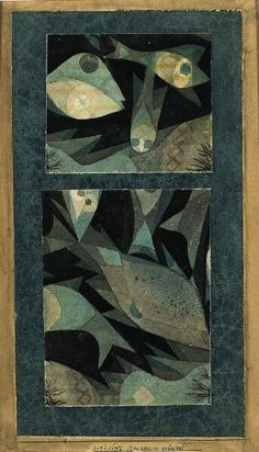 Paul Klee (1879-1940), Aquarium grün-rot (zwei kleine Szenen) [Aquarium Green-Red Two Small Scenes), 1921(127). Watercolour and ink on laid papers, mounted on Japanese laid paper mounted on thin cardboard. Composition: 22.5cm H x 12.1cm W. (Image  © Norton Simon Museum)