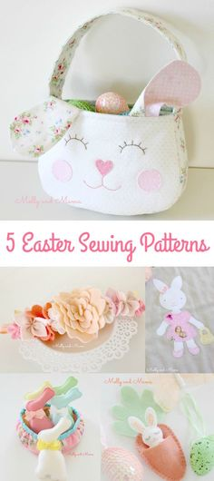 Make easy Easter sewing projects with these patterns and free tutorials from Molly and Mama; bunny appliqués, felt bunnies and carrots, bunny Easter bags and flower bonnets