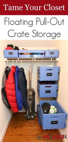Tame your closet with these unique floating pull-out pallet crates. With a few full extension drawer slides and some crates you can turn your small closet into an organized space. Click through for details! Pallet Crates, Pallet Storage, Crate Storage, Wood Crates, Extra Storage, Crate Shelves, Storage Shelves, Storage Ideas, Record Storage