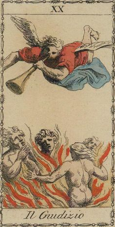 Judgement - Ancient Tarot of Lombardy (also known as Tarocchi Neoclassico). This card symbolizes one of the stages of the Fool's Journey towards self-discovery. The Fool stands for all of us. Judgement Tarot Card, Vintage Tarot Cards, Modern Magic, Tarot Major Arcana, Tarot Learning, Tarot Card Decks, Tarot Readers, Oracle Cards, Archetypes
