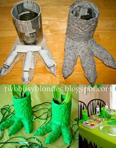 And more paper mache - fun Dinosaur Feet to finish your party decorations.
