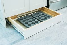 Pin it  Toe kick drawers, like these from Home Depot, take advantage of otherwise unused space, and are great for big, flat items like cookie sheets and muffin tins.
