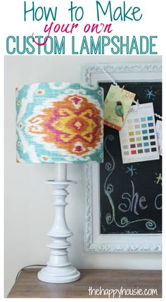 How to make your own DIY custom lampshade using a I Like That Lamp kit at thehappyhousie.com