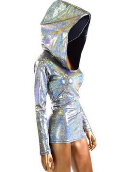 Silver Holographic Metallic Full Length Hoodie Festival Rave Clubwear Hooded Top w/Black Zen Hood Liner EDM Festival Gear, Festival Outfits, Festival Fashion, Rave Festival, Cool Outfits, Fashion Outfits, Womens Fashion, Holographic Fashion, Short Prom Dresses