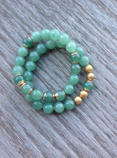 Green Aventurine Bracelets 2 Layered Boho Bracelets by BBTresors