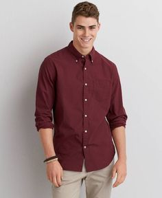 Mens Burgundy Button Down Shirt