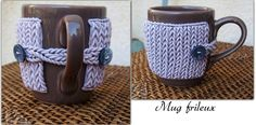 Polymer clay knitted cover for a mug