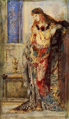 """Gustave Moreau, Paris (1826-1898), French symbolist painter. """"La toilette. Oil, watercolor. Bridgestone Museum of Art."""