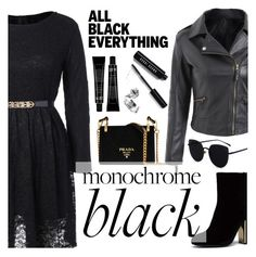 """Monochrome: All Black Everything"" by dora04 ❤ liked on Polyvore featuring Prada and Bobbi Brown Cosmetics"