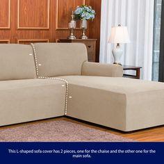 Ebern Designs L-Shaped Right 2 Piece Box Cushion Sofa Slipcover Set & Reviews | Wayfair Funda Sofa Chaise Longue, Chaise Sofa, Cushions On Sofa, Sectional Couch Cover, Couch Covers, L Shaped Sofa, Box Cushion, Grid Design, Home Decor Shops