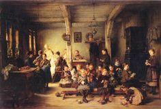 """Thüringer Strickschule"", 1884. Otto Piltz (1846-1910), German painter. Museum Wiesbaden."