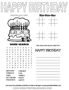 free and fun birthday word search give a like free printable worksheets pinterest more. Black Bedroom Furniture Sets. Home Design Ideas