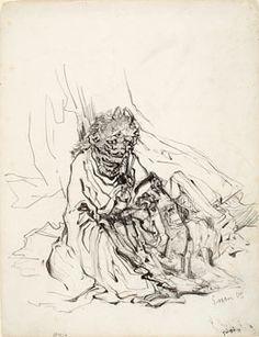 James Ensor, Copy after Hokusai Manga Kakinomoto-no-Kisoujou: démon, 1885