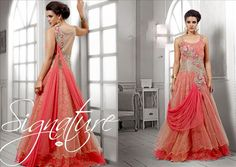 Superbly Designed Party wear indo-western Netted Gown in Peachcolor. En-crafted with beautiful work. Matching Santoon Bottom and Inner included. Designer Evening Gowns, Designer Gowns, Indowestern Gowns, Net Gowns, Fancy Gowns, Evening Party Gowns, Ethnic Wear Designer, White Gowns, Gowns Of Elegance
