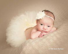 IVORY TUTU and Headband, Newborn Tutu, Baby Tutu, Infant Tutu, Newborn Photography Prop, Photo Prop, Tutus for Children, Birthday Tutu