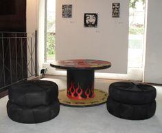 varanda puff de pneu e mesa de bobina 7