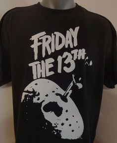 Friday the 13th T-Shirt Unisex Adults Horror Classics Vintage Shocker Splatter Gore Jason Voorhees by CrypticTales on Etsy https://www.etsy.com/listing/209840433/friday-the-13th-t-shirt-unisex-adults