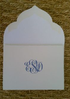Monogrammed Folded Note with Scalloped Envelope by William Arthur  Available at Hayden Avery Fine Stationery in Austin, Texas