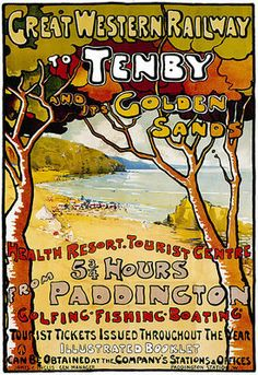 Vintage Tenby Paddington GWR Railway Travel Holiday A3 Art Poster Print | eBay