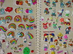 sticker albums. i loved collecting stickers as a kid. who didn't in the 80's? there were so many fun ones...puffy stickers, googly-eyes, scratch n' sniff, a plethora of rainbowed options