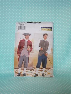 Alexander Hamilton Costume Pattern.  Butterick 3072. Revolutionary War Costume Pattern.Size:32-36. Factory Folded. Cheapest Shipping by FashionSew on Etsy