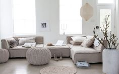 Two lovely natural living rooms (Daily Dream Decor) My Living Room, Home And Living, Living Area, Living Room Decor, Living Spaces, Piece A Vivre, Deco Design, Home And Deco, Dream Decor