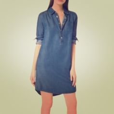 Denim shirt dress Contemporary appeal! Adorable belted or left undone. Relaxed fit and cute gold buttons down the front MICHAEL Michael Kors Dresses