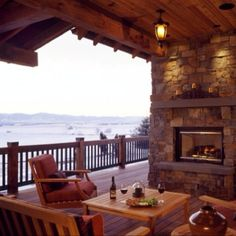 There is so much to love here; the view, the deck, the stone fireplace, the wine...