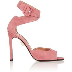 SAMUELE FAILLI Women's Jerry Suede Ankle-Wrap Sandals ($670) ❤ liked on Polyvore featuring shoes, sandals, pink, ankle tie sandals, wrap around ankle sandals, wrap sandals, pink suede shoes and wrap around sandals