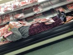 Nice Cool Beds at Walmart - Sleeping with Refrigerated Meats - Funny Pictures at Walmart