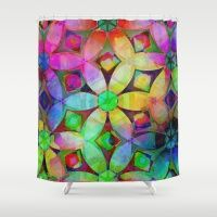 Rainbow Abstract Flowers Shower Curtain