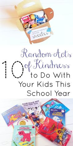 Involve you kids with random acts of kindness! Create a box that will brighten a teacher's day or your child's friend's day. Books and treats are fun to include into a gifting box for back to school!