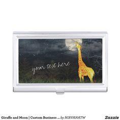 Shop Giraffe and Moon Custom Business Card Holder, Business Card Case, Business Card Holders, Happy New Year 2020, Merry Christmas And Happy New Year, Custom Logo Design, Giraffe, Your Cards, Moon